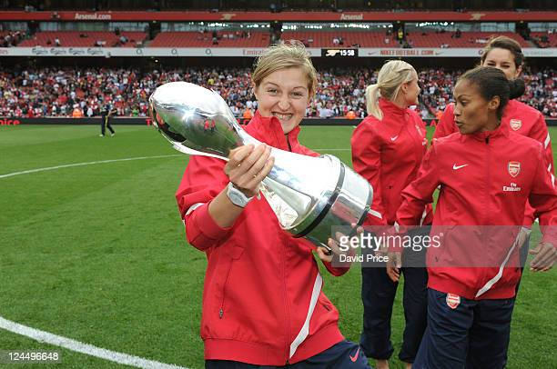 Ellen White of Arsenal Ladies with the WSL Trophy during the Barclays Premier League match between Arsenal and Swansea City at Emirates Stadium on...
