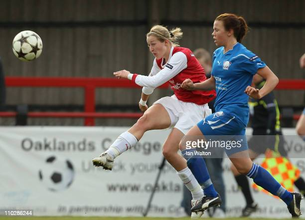 Ellen White of Arsenal scores a goal during the UEFA Women's Champions League Quarter Final match between Arsenal and Linkopings on March 17 2011 in...