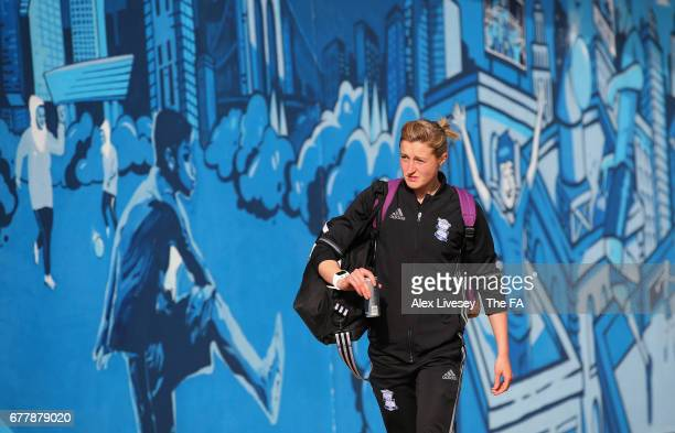 Ellen White of Birmingham City Ladies arrives at City Academy prior to the WSL 1 match between Manchester City Women and Birmingham City Ladies at...