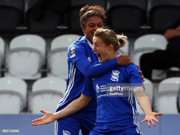 Ellen White of Birmingham City LFC celebrates scoring her sides first goal during Women's Super League 1 match between Arsenal Women FC against...