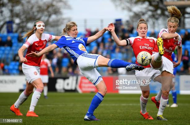 Ellen White of Birmingham City Women shoots at goal as Leah Williamson of Arsenal attempts to block during the FA WSL match between Birmingham City...
