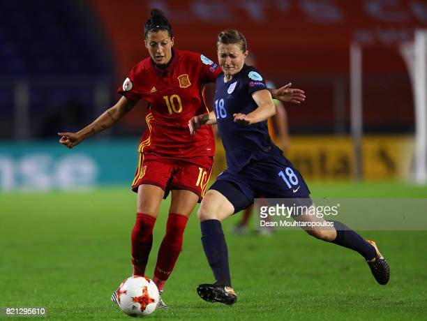 Ellen White of England and Jennifer Hermoso of Spain battle for possession during the UEFA Women's Euro 2017 Group D match between England and Spain...