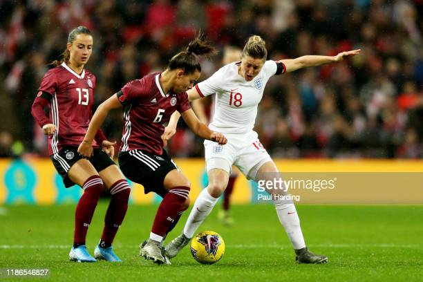 Ellen White of England and Lena Oberdorf of Germany battle for the ball during the International Friendly between England Women and Germany Women at...