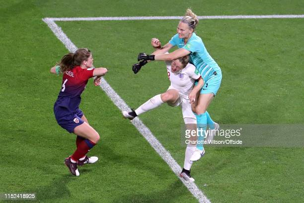 Ellen White of England and Norway goalkeeper Ingrid Hjelmseth collide during the 2019 FIFA Women's World Cup France Quarter Final match between...