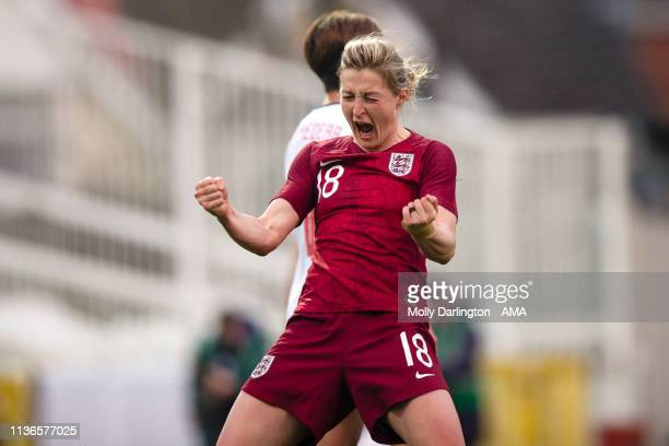 Ellen White of England celebrates after Bethany Mead of England scores a goal to make it 10 during the International Friendly between England Women...