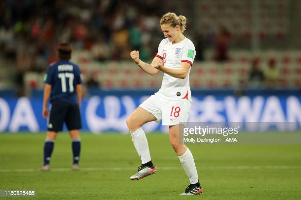 Ellen White of England celebrates after scoring a goal to make it 02 during the 2019 FIFA Women's World Cup France group D match between Japan and...