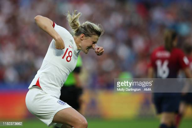 Ellen White of England celebrates after scoring a goal to make it 02 during the 2019 FIFA Women's World Cup France Quarter Final match between Norway...