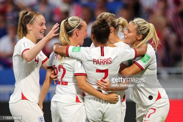 Ellen White of England celebrates after scoring a goal to make it 1-1 during the 2019 FIFA Women's World Cup France Semi Final match between England...
