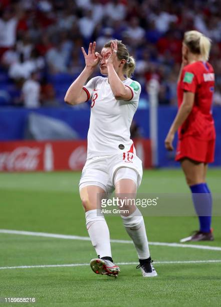 Ellen White of England celebrates after scoring during the 2019 FIFA Women's World Cup France Semi Final match between England and USA at Stade de...