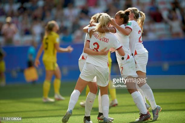 Ellen White of England celebrates after scoring her sides first goal during the 2019 FIFA Women's World Cup France 3rd Place Match match between...