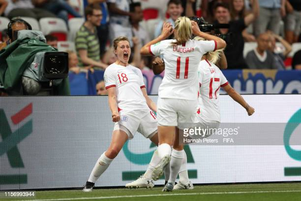 Ellen White of England celebrates after scoring her team's first goal during the 2019 FIFA Women's World Cup France group D match between Japan and...