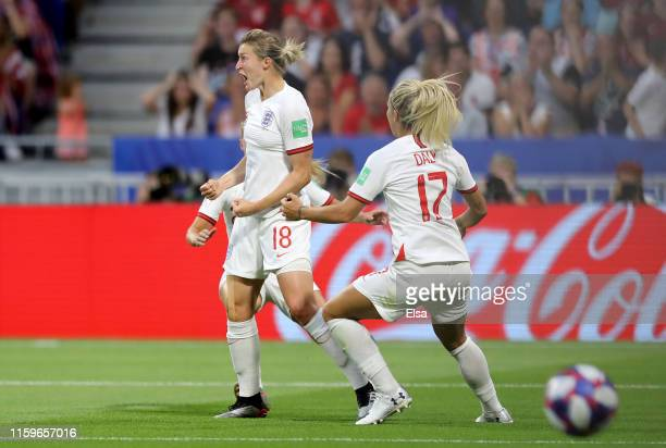 Ellen White of England celebrates after scoring her team's first goal during the 2019 FIFA Women's World Cup France Semi Final match between England...