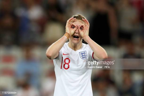 Ellen White of England celebrates after scoring her team's second goal during the 2019 FIFA Women's World Cup France group D match between Japan and...