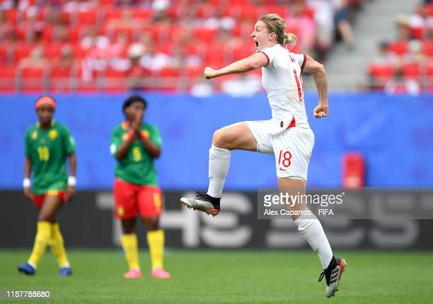 Ellen White of England celebrates after scoring her team's second goal during the 2019 FIFA Women's World Cup France Round Of 16 match between...