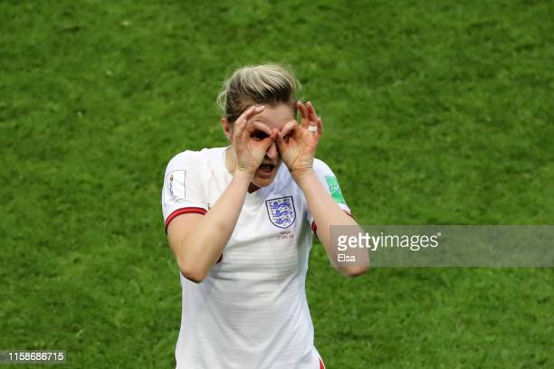 Ellen White of England celebrates after scoring her team's second goal during the 2019 FIFA Women's World Cup France Quarter Final match between...