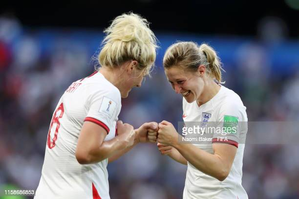 Ellen White of England celebrates after scoring her team's second goal with Millie Bright of England during the 2019 FIFA Women's World Cup France...