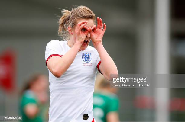 Ellen White of England celebrates after scoring their team's first goal during the Women's International Friendly match between England and Northern...