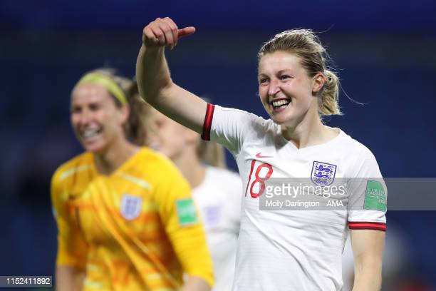 Ellen White of England celebrates at full time during the 2019 FIFA Women's World Cup France Quarter Final match between Norway and England at Stade...