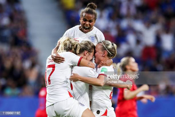 Ellen White of England celebrates her goal during the 2019 FIFA Women's World Cup France Semi Final match between England and USA at Stade de Lyon on...