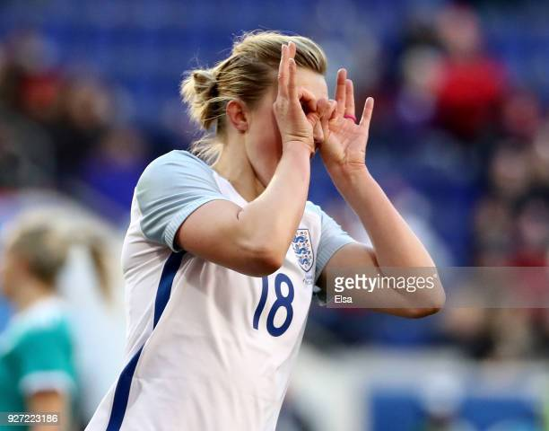 Ellen White of England celebrates her goal in the second half against Germany during the SheBelieves Cup at Red Bull Arena on March 4 2018 in...