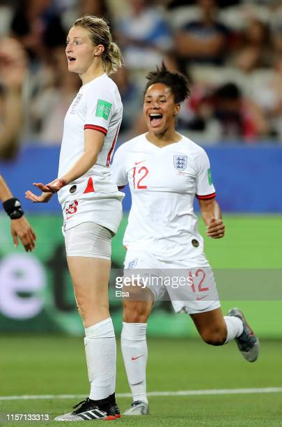 Ellen White of England celebrates her goal with teammate Demi Stokes in the second half against Japan during the 2019 FIFA Women's World Cup France...