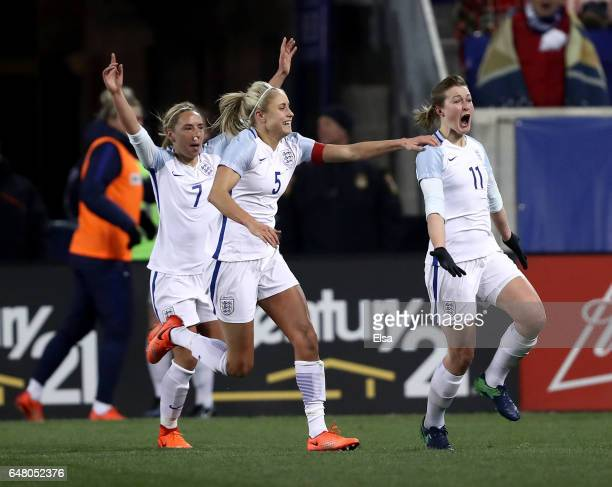 Ellen White of England celebrates her goal with teammates Jordan Nobbs and Steph Houghton in the second half against the United States during the...