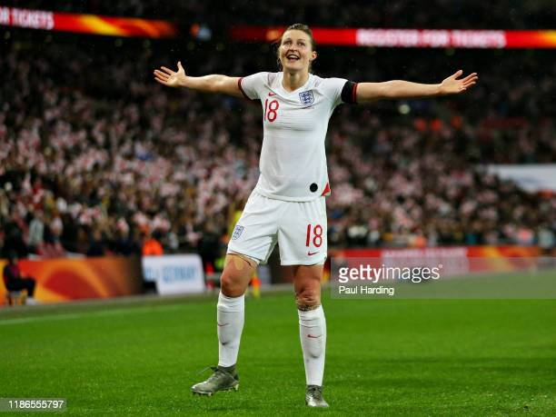 Ellen White of England celebrates scoring her sides first goal during the International Friendly between England Women and Germany Women at Wembley...