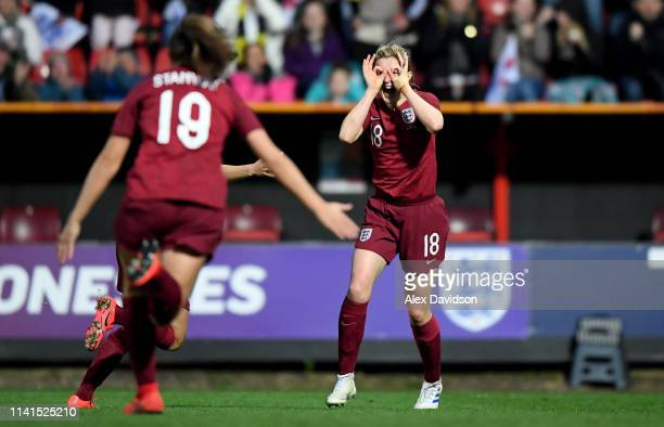 Ellen White of England celebrates scoring her teams second goal during the International Friendly between England Women and Spain Women at the County...