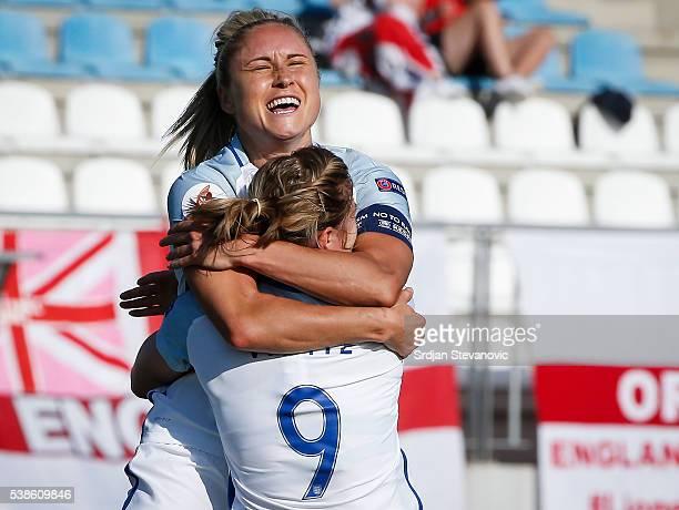 Ellen White of England celebrates scoring the second goal with the team captain Stephanie Houghton during the UEFA Women's European Championship...