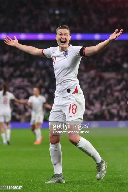 Ellen White of England celebrates scoring their 1st goal during the International Friendly between England Women and Germany Women at Wembley Stadium...