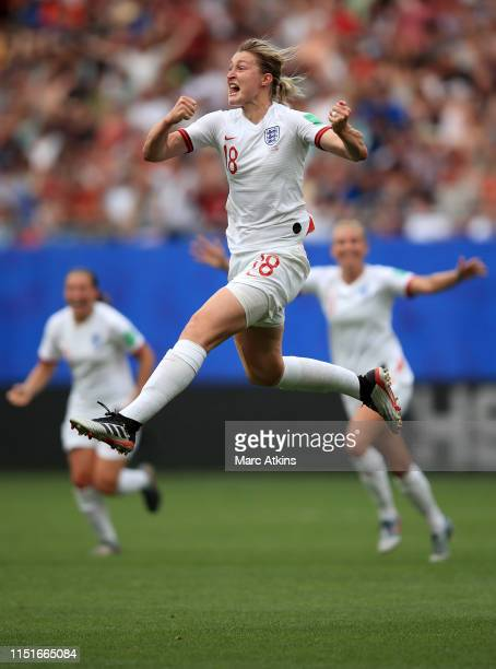 Ellen White of England celebrates scoring their 2nd goal during the 2019 FIFA Women's World Cup France Round Of 16 match between England and Cameroon...