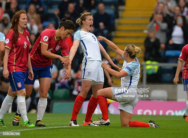 Ellen White of England celebrates scoring their fourth goal during the UEFA Women's European Championship Qualifiers match between England and Serbia...