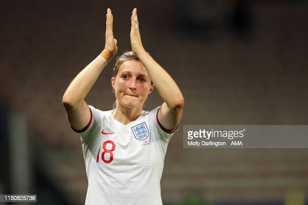 Ellen White of England celebrates victory after the 2019 FIFA Women's World Cup France group D match between Japan and England at Stade de Nice on...