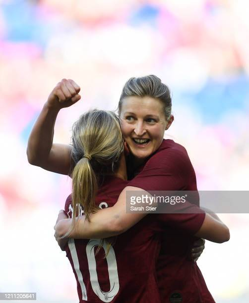 Ellen White of England celebrates with Jordan Nobbs after scoring during the second half against Japan in the SheBelieves Cup at Red Bull Arena on...