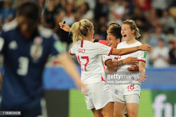 Ellen White of England celebrates with team mates after scoring a goal to make it 02 during the 2019 FIFA Women's World Cup France group D match...