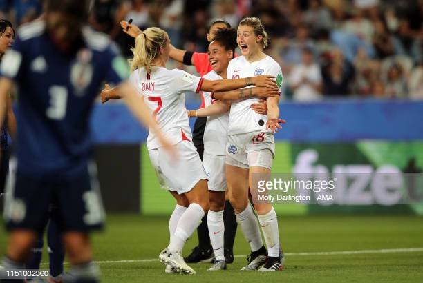 Ellen White of England celebrates with team mates after scoring a goal to make it 0-2 during the 2019 FIFA Women's World Cup France group D match...
