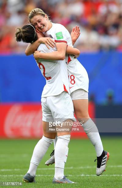 Ellen White of England celebrates with teammate Lucy Bronze after scoring her team's second goal during the 2019 FIFA Women's World Cup France Round...