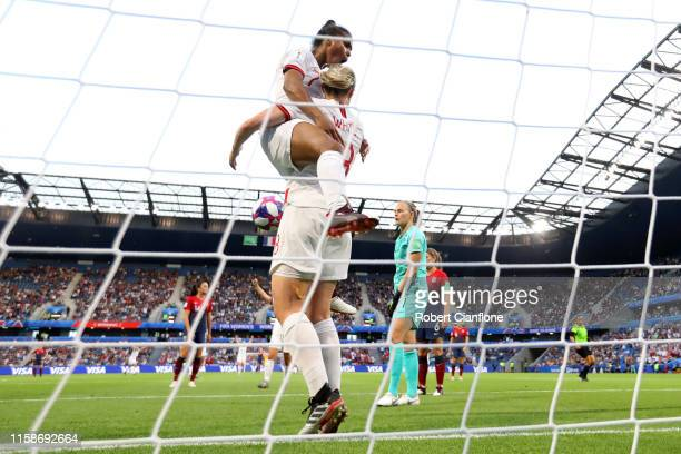 Ellen White of England celebrates with teammate Nikita Parris after scoring her team's second goal during the 2019 FIFA Women's World Cup France...