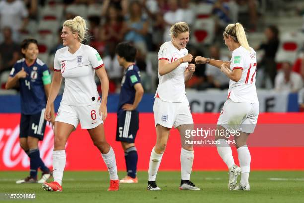 Ellen White of England celebrates with teammate Rachel Daly after scoring her team's second goal during the 2019 FIFA Women's World Cup France group...