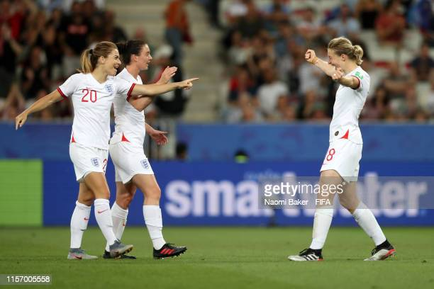 Ellen White of England celebrates with teammates Karen Carney and Jade Moore after scoring her team's second goal during the 2019 FIFA Women's World...