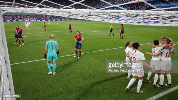 Ellen White of England celebrateswith teammates after scoring her team's second goal during the 2019 FIFA Women's World Cup France Quarter Final...