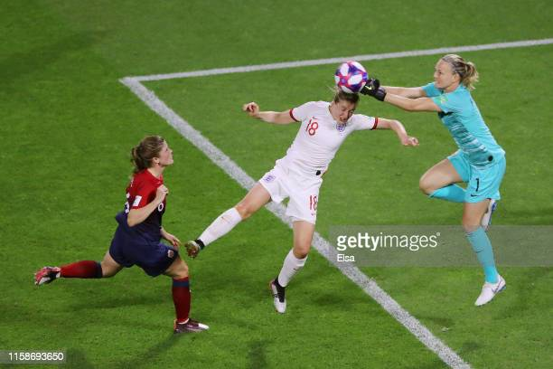 Ellen White of England collides with Ingrid Hjelmseth of Norway during the 2019 FIFA Women's World Cup France Quarter Final match between Norway and...