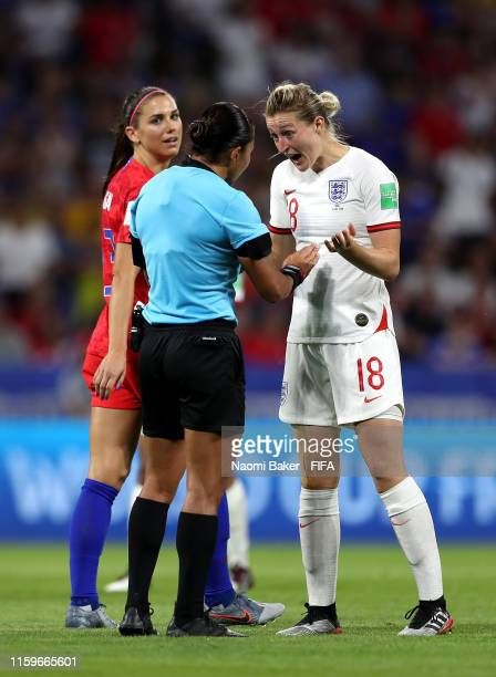 Ellen White of England confronts referee Edina Alves Batista during the 2019 FIFA Women's World Cup France Semi Final match between England and USA...
