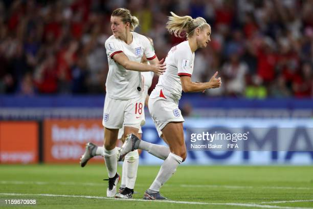 Ellen White of England consoles Steph Houghton after she misses a penalty during the 2019 FIFA Women's World Cup France Semi Final match between...