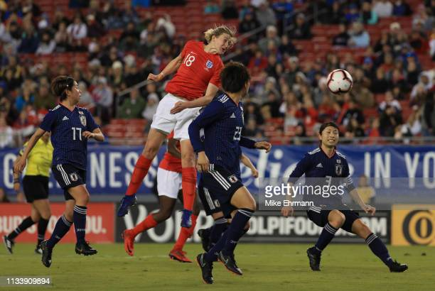 Ellen White of England heads a chance goalwards during the 2019 SheBelieves Cup match between England and Japan at Raymond James Stadium on March 05...