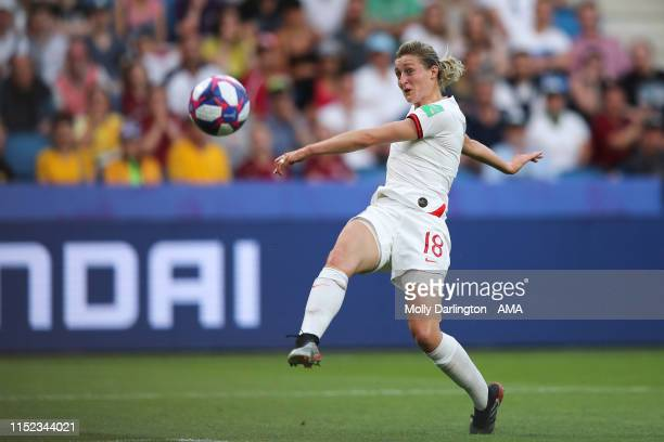 Ellen White of England hits the post during the 2019 FIFA Women's World Cup France Quarter Final match between Norway and England at Stade Oceane on...