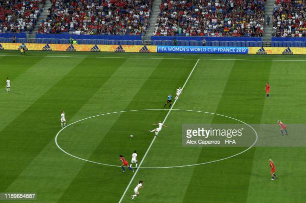 Ellen White of England kicks off the 2019 FIFA Women's World Cup France Semi Final match between England and USA at Stade de Lyon on July 02 2019 in...