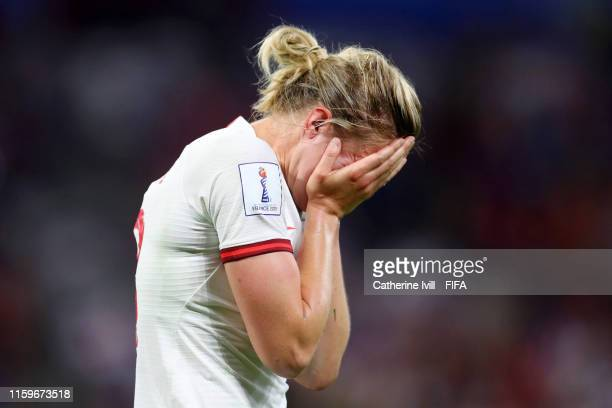 Ellen White of England looks dejected following her sides defeat in the 2019 FIFA Women's World Cup France Semi Final match between England and USA...