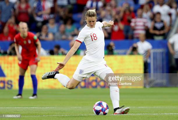 Ellen White of England passes the ball for kick off during the 2019 FIFA Women's World Cup France Semi Final match between England and USA at Stade...