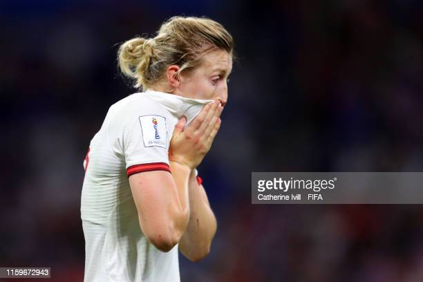 Ellen White of England reacts following the 2019 FIFA Women's World Cup France Semi Final match between England and USA at Stade de Lyon on July 02,...